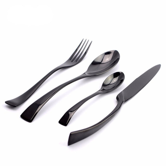 4Pcs/ Black Cutlery Set Stainless Steel Flatware - Slab Homewares