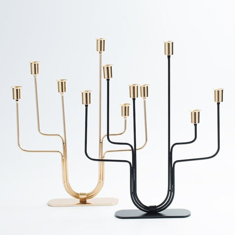 6 Branches Modern Gold/Black Metal Candelabra - Slab Homewares