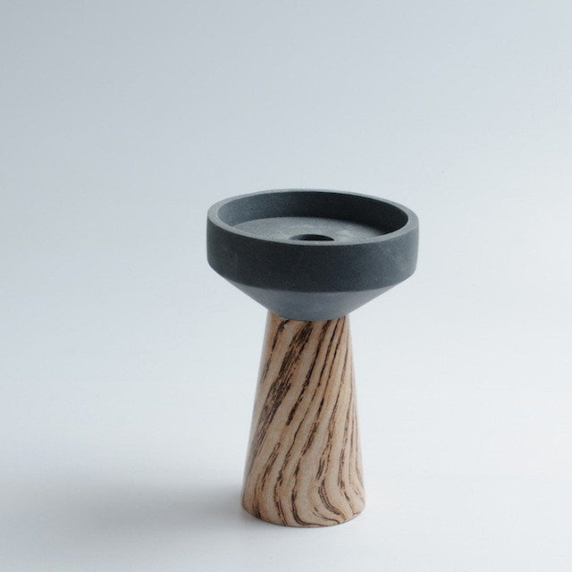 Modern Seal Shaped Natural Wood Candle Holder - Slab Homewares