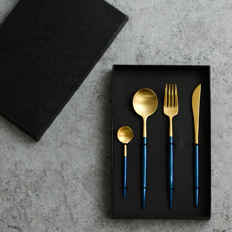4Pcs/set High Quality 24K Gold Bule Cutlery Set - Slab Homewares
