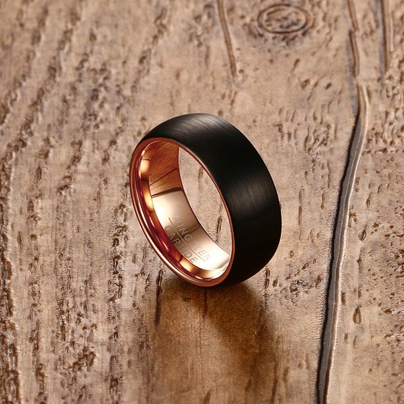Tungsten Men's Ring, Black with Rose Gold Detail