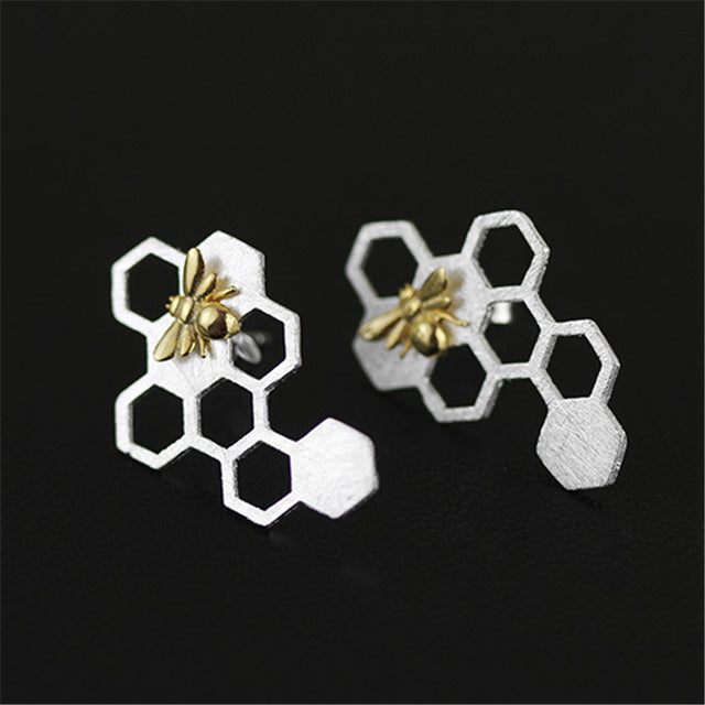 Bee and the Honeycomb Earringse