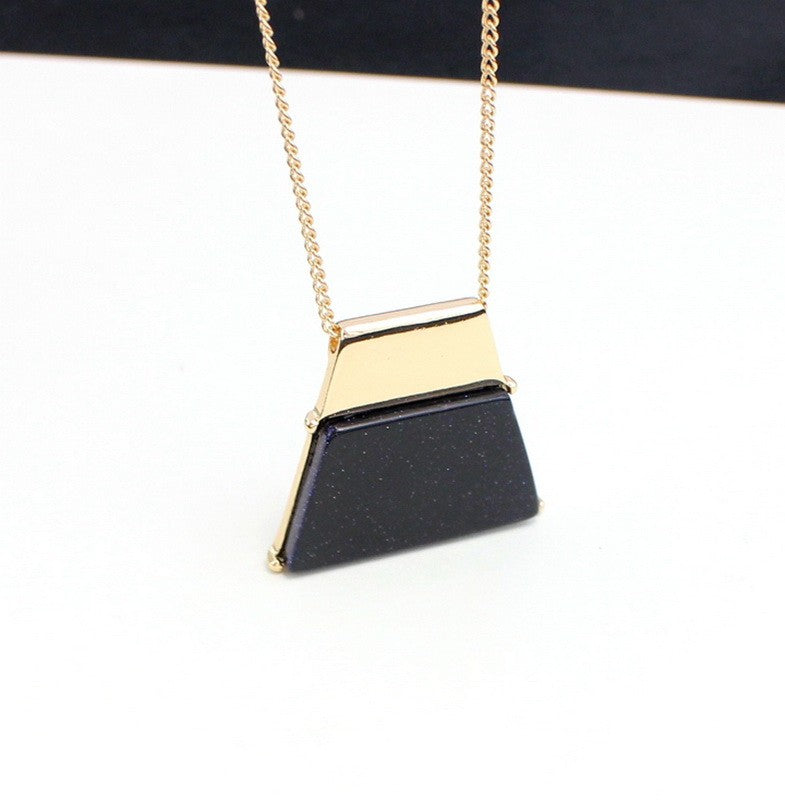Gold Trapezoid Stone Pendant Necklace