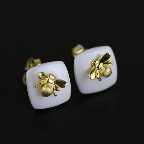 Bee 925 Sterling Silver Stud Earrings