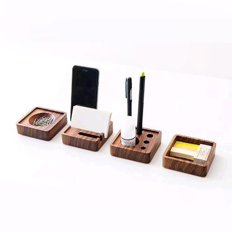 4pcs/set Creative Wooden Stationery Desk Set