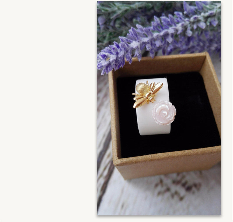 Rose & Bee Ceramic Ring