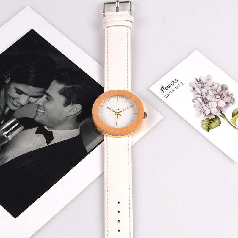 Chantelle Pine Wooden & Quartz Watch