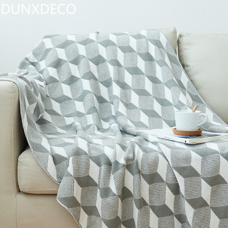 eometric Space 3D Cotton Knitting Bedspread