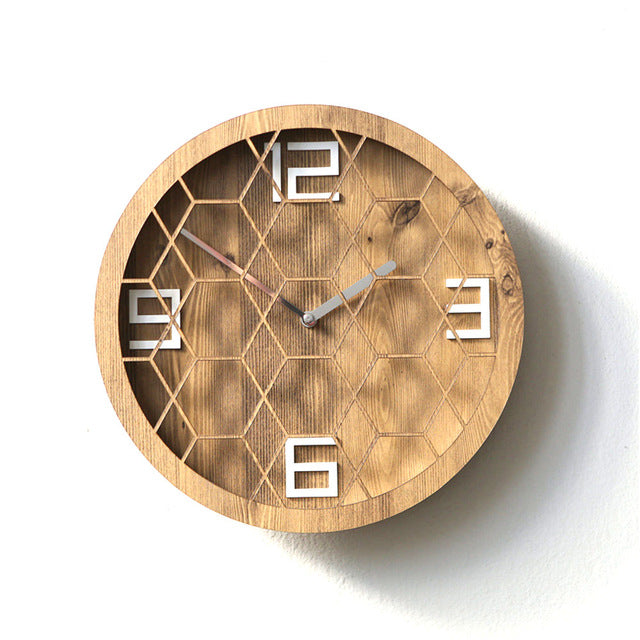 Grid Pine Wooden Large Wall Clock