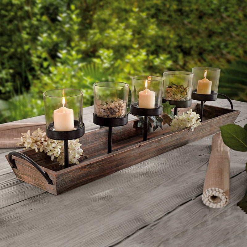 Modern Style Wood Candle Holder