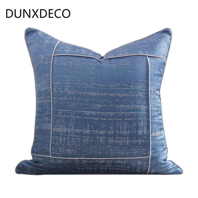 Modern Cold Blue Jacquard Pillow Case