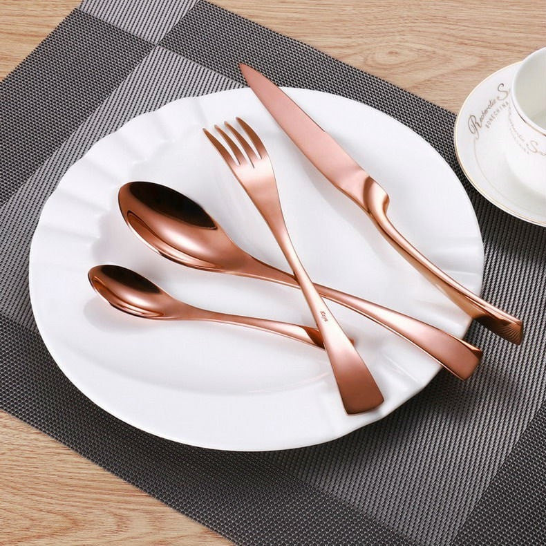4Pcs/set Rose Gold Cutlery Set Stainless Steel Flatware - Slab Homewares