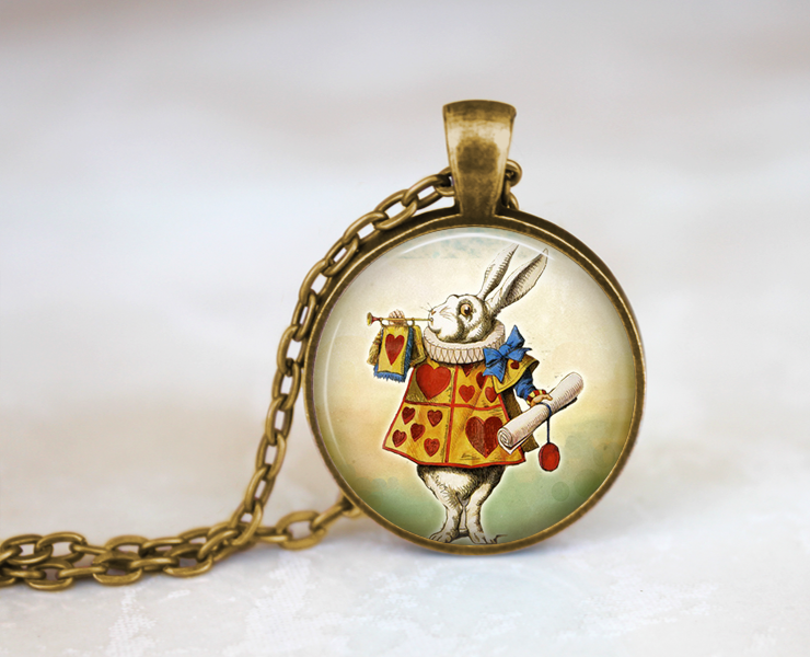 Alice in Wonderland White Rabbit Necklace