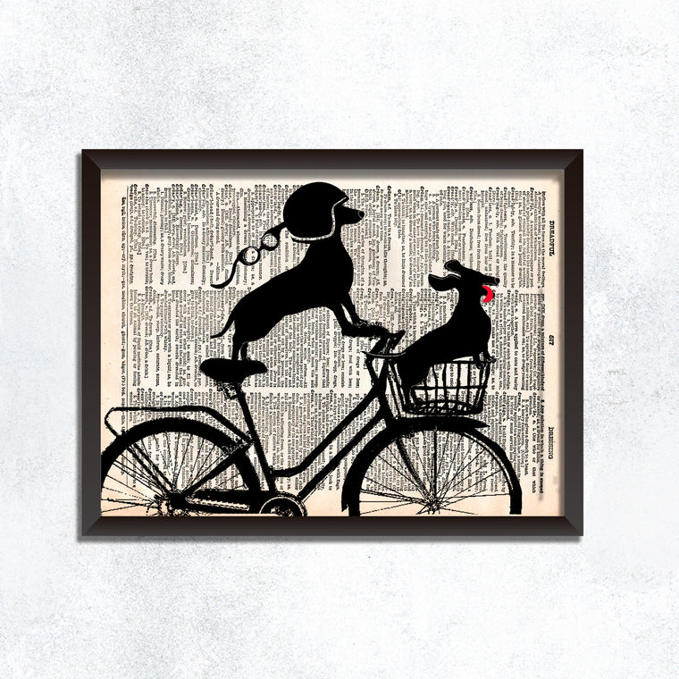 Dachshund Vintage Bicycle Print
