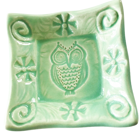 Lorraine Oerth  Co. - Tiny Dish - Owl - Spa Green