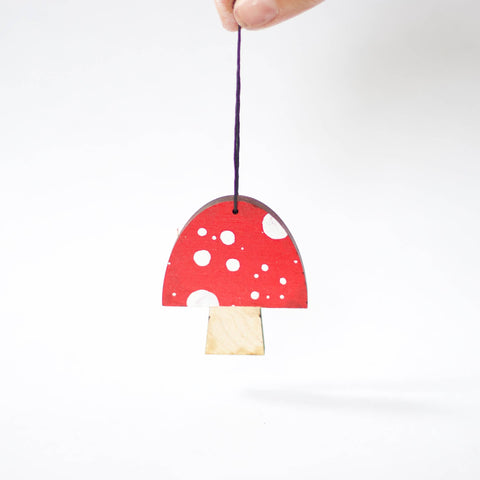 Collin Garrity - dappled mushroom christmas ornament (painted)