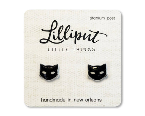 Lilliput Little Things - Spooky Black Cat Earrings