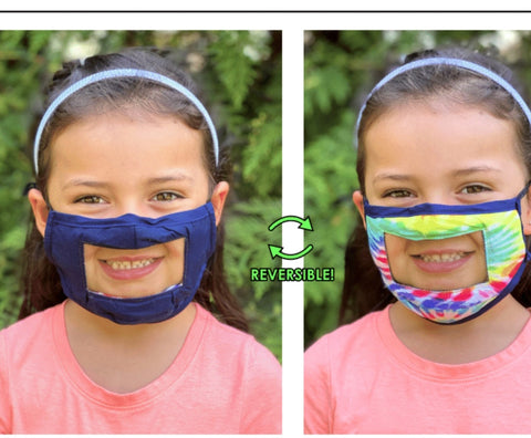 Kids reversible Smile (clear panel) mask