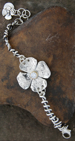 Clover Bracelet with CZ in 14k Bezel on Wrapped Vine Sides
