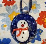 Hand Blown Blue Glass Snowman Pendant by Cheryl