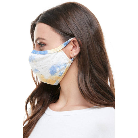 USA made Fashion soft blue pastel tie dye reusable mask