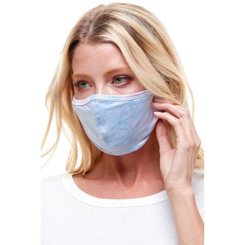 Blue Fashion stretchable tie dye reusable fabric face mask