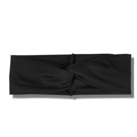 Solid Black Button Headband