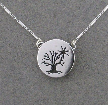 Sterling Silver Tree and Sun Necklace