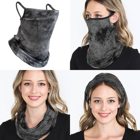 RKAPPAREL INC - Face Mask Bandana Ear Loops Neck Gaiters Scarf Black
