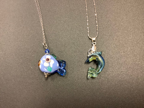 Fish or dolphin glass pendant