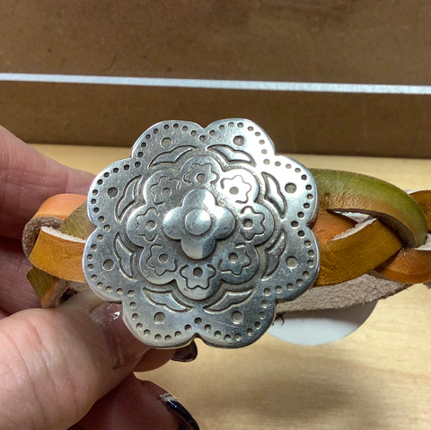 Bandana Girl Cuff Leather braid pewter flower452
