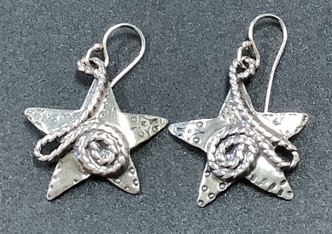 Textured Star Earrings by Sherry 19st889w
