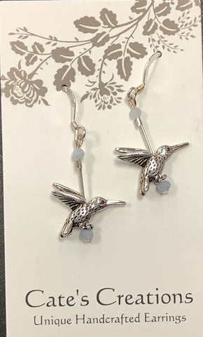 Handcrafted Sterling Silver Humingbird Earrings by Caitlin