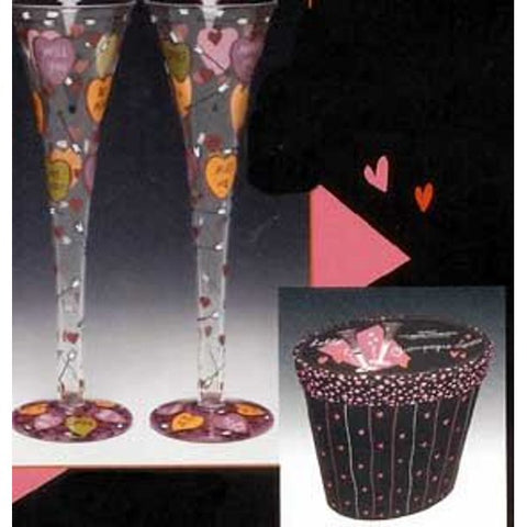 "Lolita Hand Painted Champagne Flutes""Love"" Set of Two"