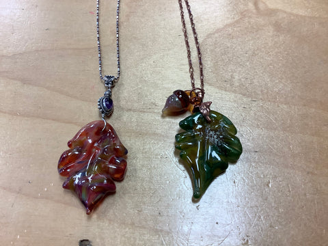 Leaf glass necklaces