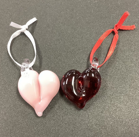 Mini glass hearts for tree or....