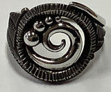 #R Sterling Silver Large Swirl Wave Ring size 7.5