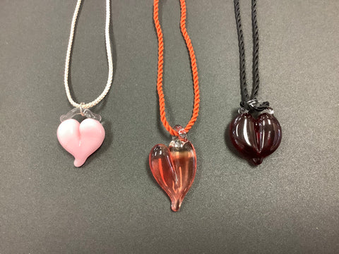 Heart Necklaces of Various Colors by Cheryl