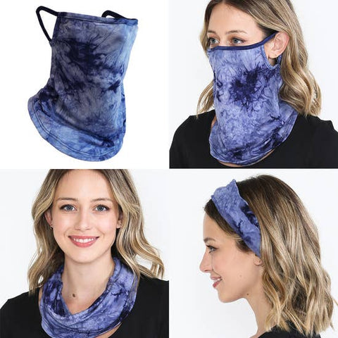 Face Mask Bandana Ear Loops Neck Gaiters Scarf Navy