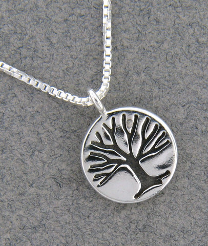 Sterling Silver Round Tree Necklace