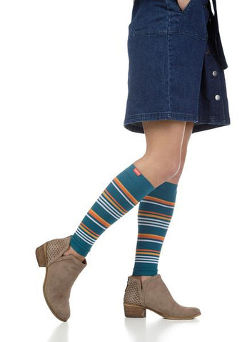 MALIBU STRIPE COMPRESSION SLEEVES: DARK TEAL & CREAMSICLE (MOISTURE-WICK NYLON)