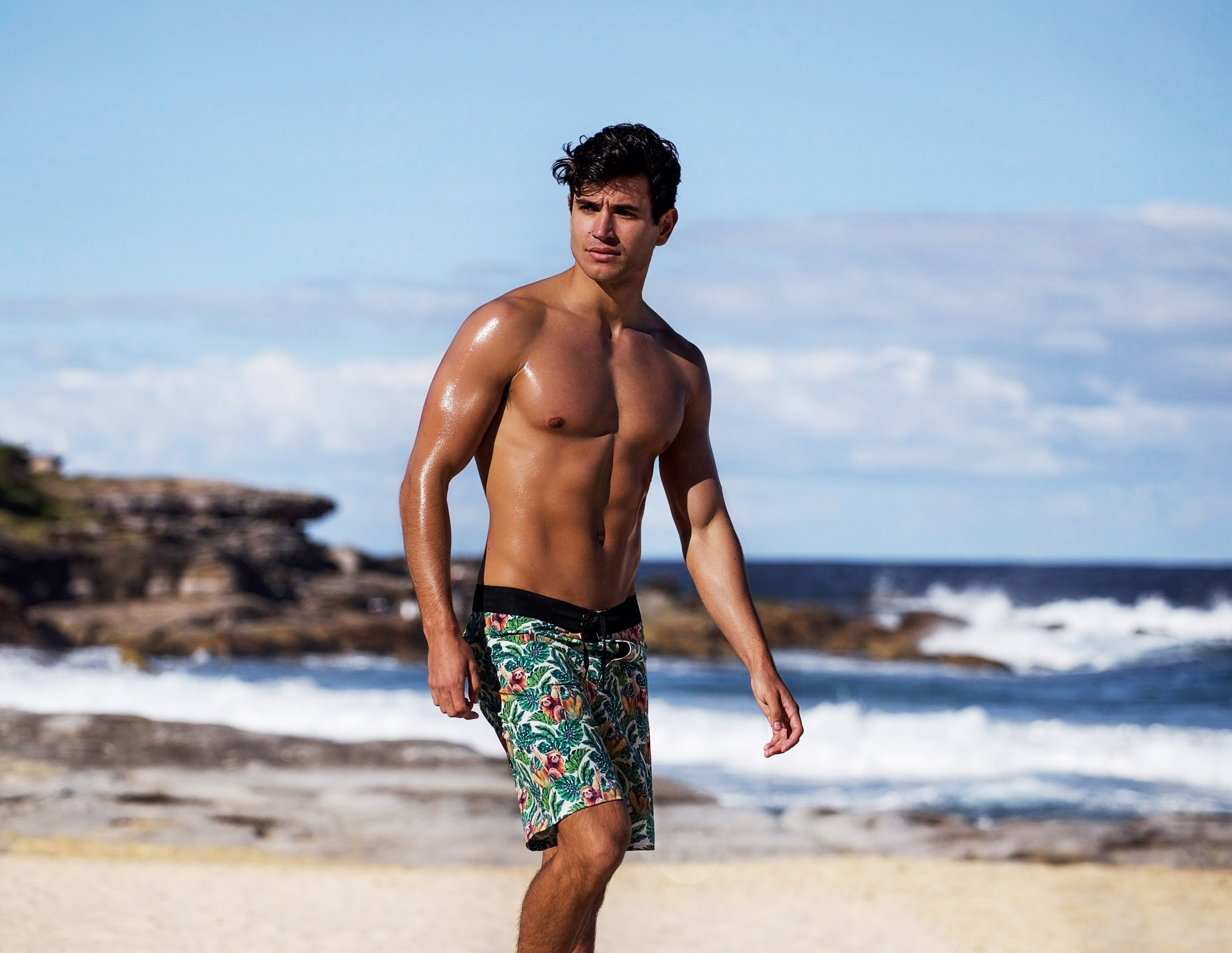 The Sloth Pattern Board Shorts for the Sloth Institute Costa Rica - Men's
