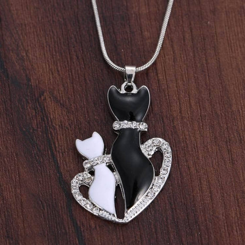 Cat Duo Rhinestone Pendant Necklace