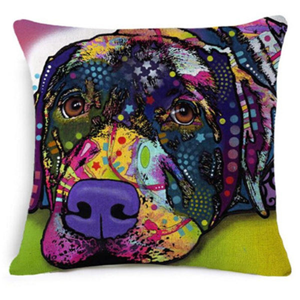 Artistic Dog Breed Square Throw Pillowcase