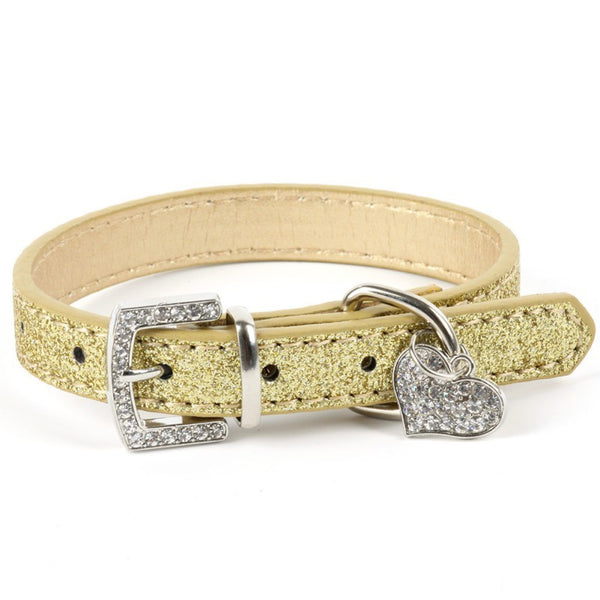 Dazzling Rhinestone Pendant Leather Collars for Dogs or Cats - 5 colors available
