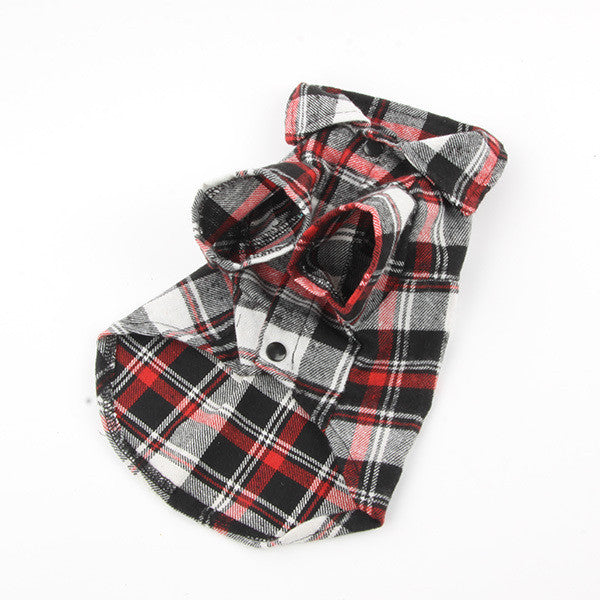 Casual Plaid Lapel Button Shirt for Dogs