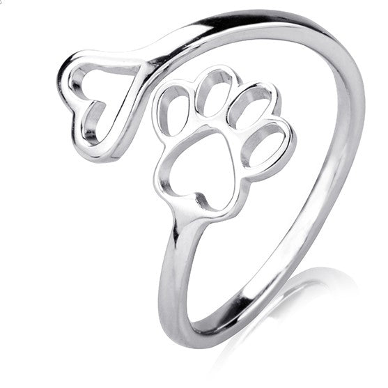 Sterling Silver Pawprint & Heart Ring
