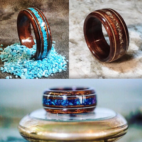 Triple Inlay Etimoe Bentwood Ring