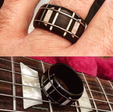 Trapezoid & Block Inlay Guitar Fretboard Bentwood Ring