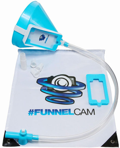 Blue FunnelCam Beer Bong with Tube Valve Funnel